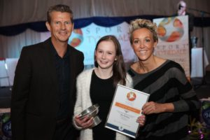 K511561 Sport Awards. Sport Tynedale Awards NPFA Trophy for Disabled Sports person of the year went to Alicia Armstrong presented by Alison Curbishley and Steve Cram.