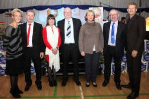 K511565 Sport Awards. Special awards were presented to John and Catherine Story and Celia and Melvin Ridley in memory of their children Rhya Story and Stu Ridley. Pictured with Sport Tynedale's Edward Heslop, Alison Curbishley and Steve Cram.