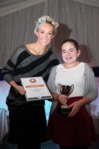 K511555 Sport Awards. Sport Tynedale Awards Sport Tynedale Trophy for Young volunteer of the year went to Martha Robinson presented by Alison Curbishley.